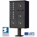 CBU Commercial Mailboxes - 8 Door with 4 Parcel Lockers - Black