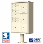 USPS Approved 8 Door Cluster Mailboxes with 4 Parcel Lockers