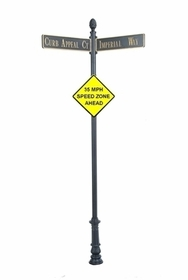 "Century Round Post Street Sign with Cast Blades and 24"" Diamond Sign"