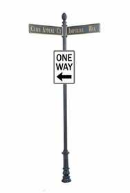 "Century Round Post Street Sign with Cast Blades and 30"" Rectangle Sign"