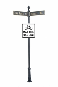 "Century Round Post Street Sign with Cast Blades and 30"" Square Sign"