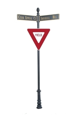 "Century Round Post Street Sign with Cast Blades and 30"" Yield Sign"
