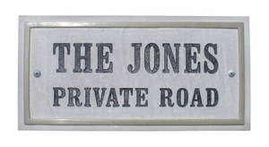 Chesterfield Rectangle Crushed Stone Address Plaque with Engraved Text in Sandstone Color