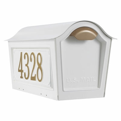 Whitehall Chalet Mailbox w/2 Side Plaques - White