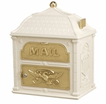 Classic Mailbox Top Almond with Polished Brass