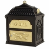 Classic Mailbox Top Black with Polished Brass