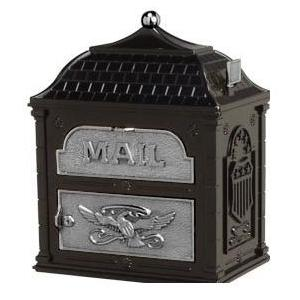 Classic Mailbox Top Black with Satin Nickel Accents