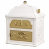 Classic Mailbox Top White with Polished Brass