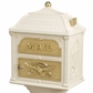 Classic Pedestal Mailbox Package - Almond with Polished Brass