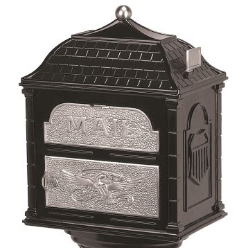 Classic Mailbox Top - Black with Satin Nickel Accents