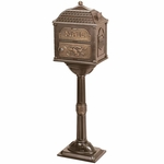 Classic Pedestal Mailbox Package - Bronze with Antique Bronze