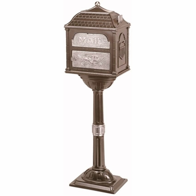Classic Pedestal Mailbox Package - Bronze with Satin Nickel