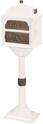 Classic Pedestal Mailbox Package - White with Antique Bronze