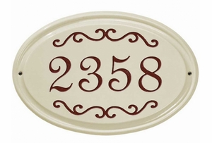 Whitehall Classic Scroll Ceramic Oval - Standard Wall Plaque - One Line