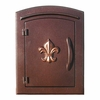 Manchester Column Mailbox with Fleur de Lis Emblem in Antique Copper