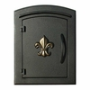 Manchester Non-Locking Column Mount Mailbox with Fleur de Lis Emblem in Black (Gold Fleur de Lis)