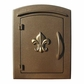 Manchester Non-Locking Column Mount Mailbox with Fleur de Lis Emblem in Bronze