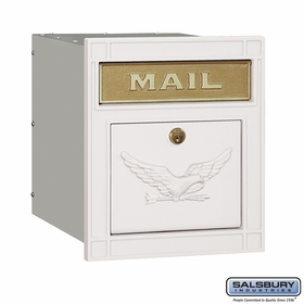 Salsbury 4145E-WHT Column Mailbox Locking White Eagle Door