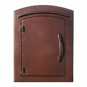 Manchester Column Mailbox with Plain Door in Antique Copper