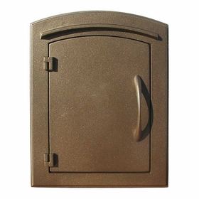 Manchester Column Mailbox with Plain Door in Bronze