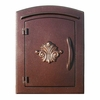 Manchester Column Mailbox with Scroll Emblem in Antique Copper