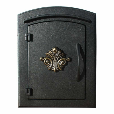 Manchester Column Mailbox with Scroll Emblem in Black