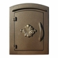 Manchester Column Mailbox with Scroll Emblem in Bronze