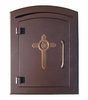 Manchester Non-Locking Column Mount Mailbox with Cross Emblem in Antique Copper