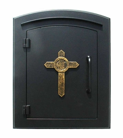 Manchester Column Mailbox with Cross Emblem in Black