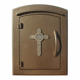 Manchester Non-Locking Column Mount Mailbox with Cross Emblem in Bronze