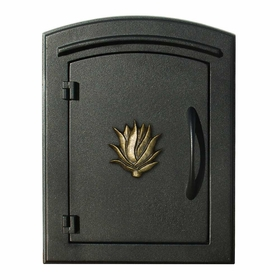 Manchester Column Mailbox with Agave Emblem in Black