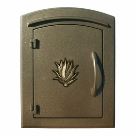 Manchester Column Mailbox with Agave Emblem in Bronze