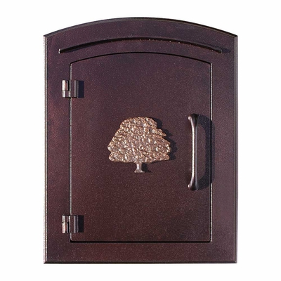 Manchester Column Mailbox with Oak Tree Emblem in Antique Copper