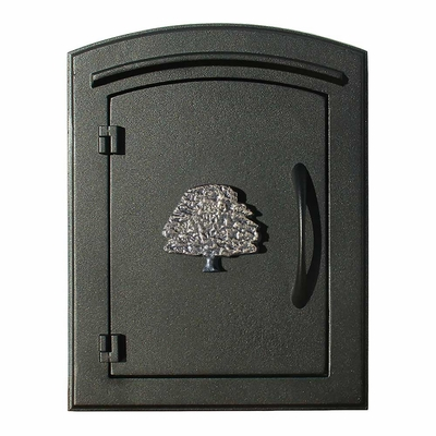 Manchester Column Mailbox with Oak Tree Emblem in Black