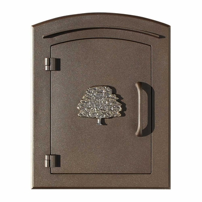 Manchester Column Mailbox with Oak Tree Emblem in Bronze