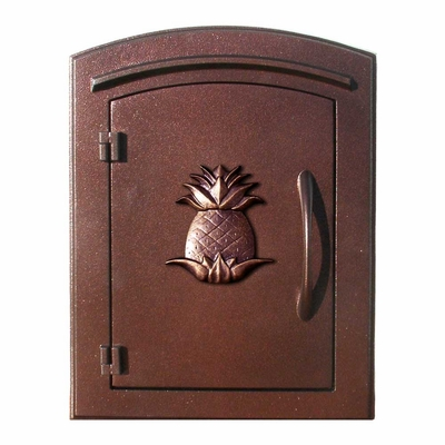 Manchester Column Mailbox with Pineapple Emblem in Antique Copper