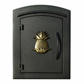 Manchester Column Mailbox with Pineapple Emblem in Black