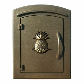 Manchester Column Mailbox with Pineapple Emblem in Bronze