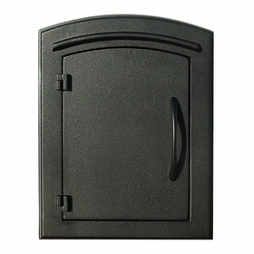 Manchester Column Mailbox with Plain Door in Black