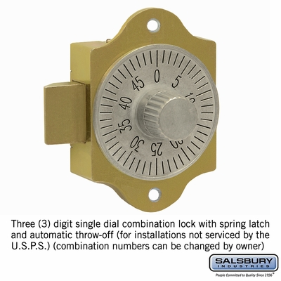 Salsbury 2086 Combination Lock For Brass Mailboxes