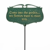 Whitehall Come Into the Garden Garden Sign (Green/Gold)