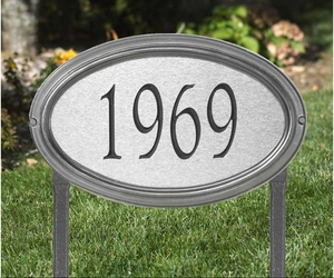 Whitehall Concord Artisan Metal Standard Lawn Address Sign - One Line