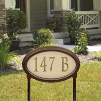 Whitehall Concord Artisan Stone Standard Lawn Address Sign - One Line