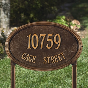 Whitehall Concord Oval Estate Lawn Address Sign - Two Line