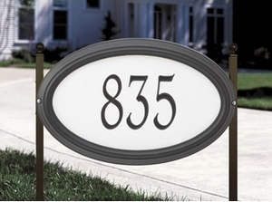 Whitehall Concord Oval - Estate Reflective Lawn Address Sign - One Line
