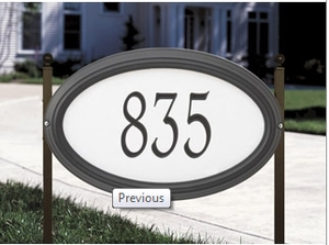 Whitehall Concord Oval - Standard Reflective Lawn Address Sign - One Line