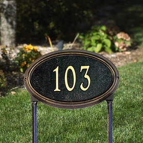 Whitehall Concord Oval Standard Lawn Address Sign - One Line