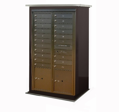 Contemporary Centralized Delivery System for 1 Single and 1 Double Mailbox Cabinet (Sold Separately)