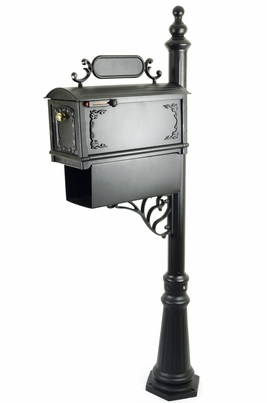 Curbside Mailbox with Ornamental Address Plaque and Newspaper Holder