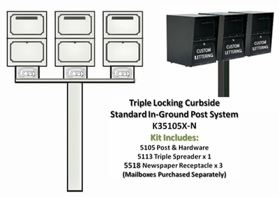 Triple Locking Curbside Standard In-Ground Post System with Newspaper Receptacles (Mailboxes Purchased Separately)